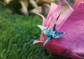 Wearable Origami Crane Pendant
