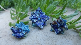 Wearable Origami Pendant and Earring Set
